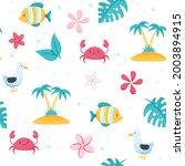 summer sea pattern. cute fish ... | Shutterstock .eps vector #2003894915