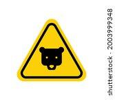 Bear Warning Sign. Yellow...