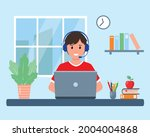 pupil with laptop studying...   Shutterstock .eps vector #2004004868