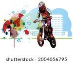 man riding motobike  extreme...   Shutterstock .eps vector #2004056795