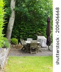 relaxation area in a garden  | Shutterstock . vector #200406668