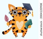 Cute Cartoon Striped Tiger. A...