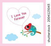 cute chameleon cartoon...   Shutterstock .eps vector #2004125045