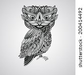 vector black  owl  tattoo style | Shutterstock .eps vector #200414492