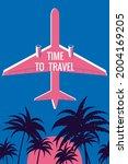 plane in the sky  palms  sunset.... | Shutterstock .eps vector #2004169205