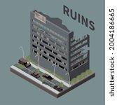 ruins isometric grey background ... | Shutterstock .eps vector #2004186665