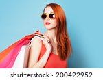 style redhead women holding... | Shutterstock . vector #200422952