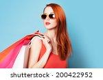 style redhead women holding... | Shutterstock . vector #200422952