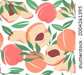 peach pattern. exotic tropical...   Shutterstock .eps vector #2004261395