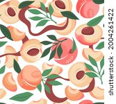 peach pattern. exotic tropical...   Shutterstock .eps vector #2004261422