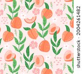 peach pattern. exotic tropical...   Shutterstock .eps vector #2004261482