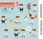 businessman activities on blue... | Shutterstock .eps vector #200429042