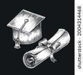 hand drawn vintage graduation...   Shutterstock .eps vector #2004314468
