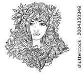 fairy girl with mandala flowers ...   Shutterstock .eps vector #2004350348