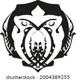 scary owl symbol in black and... | Shutterstock .eps vector #2004389255