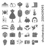 set of dark silhouette vector... | Shutterstock .eps vector #200439095