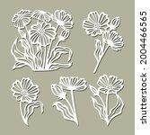 set of flowers  daisies ... | Shutterstock .eps vector #2004466565