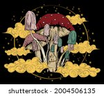 retro psychedelic mushroom...   Shutterstock .eps vector #2004506135