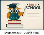 Stock vector back to school vector card with place for text wise owl with books and graduate cap flat design 200454488
