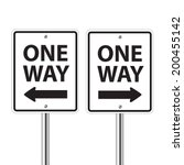 one way traffic sign on white | Shutterstock .eps vector #200455142