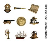 collection of maritime artifacts | Shutterstock . vector #200456138