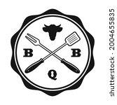 bbq vintage emblem on white... | Shutterstock .eps vector #2004655835
