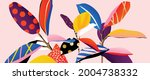 tropical plants and jungle... | Shutterstock .eps vector #2004738332