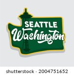 seattle washington with...   Shutterstock .eps vector #2004751652