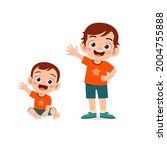 cute little boy say hello with...   Shutterstock .eps vector #2004755888