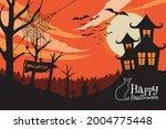 happy halloween. a tense night... | Shutterstock .eps vector #2004775448