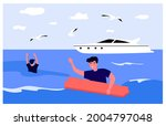 People Shipwrecked Flat Vector...