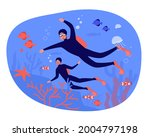 people going diving together...   Shutterstock .eps vector #2004797198