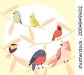 five birds species set animals | Shutterstock .eps vector #2004849602
