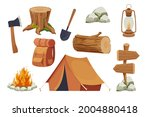 set camping equipment campfire  ...   Shutterstock .eps vector #2004880418