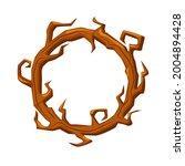 old wooden round frame  wreath...