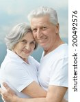 happy senior couple in summer... | Shutterstock . vector #200492576