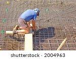 carpenter working on steel mesh | Shutterstock . vector #2004963