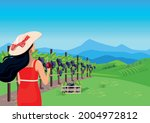 a beautiful girl with loose... | Shutterstock .eps vector #2004972812