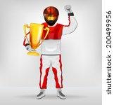 standing racer in helmet...   Shutterstock .eps vector #200499956