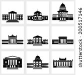 Icons Of Buildings With Column...