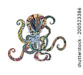 colored octopus tattoo | Shutterstock .eps vector #200523386