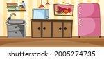 empty kitchen room scene with...   Shutterstock .eps vector #2005274735