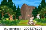 many rabbits in forest scene... | Shutterstock .eps vector #2005276208