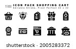 icon set of shopping cart glyph ...