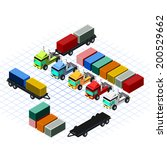 isometric trucks with container ... | Shutterstock .eps vector #200529662