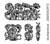 set of silhouettes of flowers... | Shutterstock .eps vector #2005352972