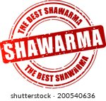 Vector illustration of shawarma red stamp concept