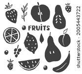 fruit set  collection of juicy...   Shutterstock .eps vector #2005443722