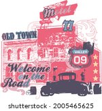 old town motel welcome on the... | Shutterstock .eps vector #2005465625