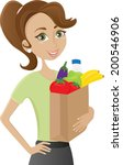 woman holding grocery bag | Shutterstock .eps vector #200546906